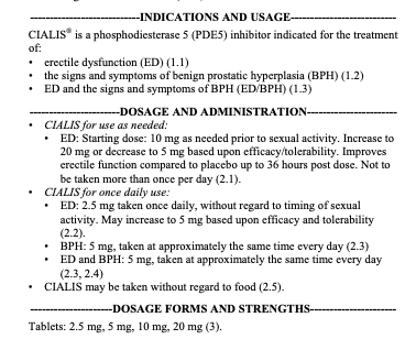 Cialis FDA label - how much Cialis?