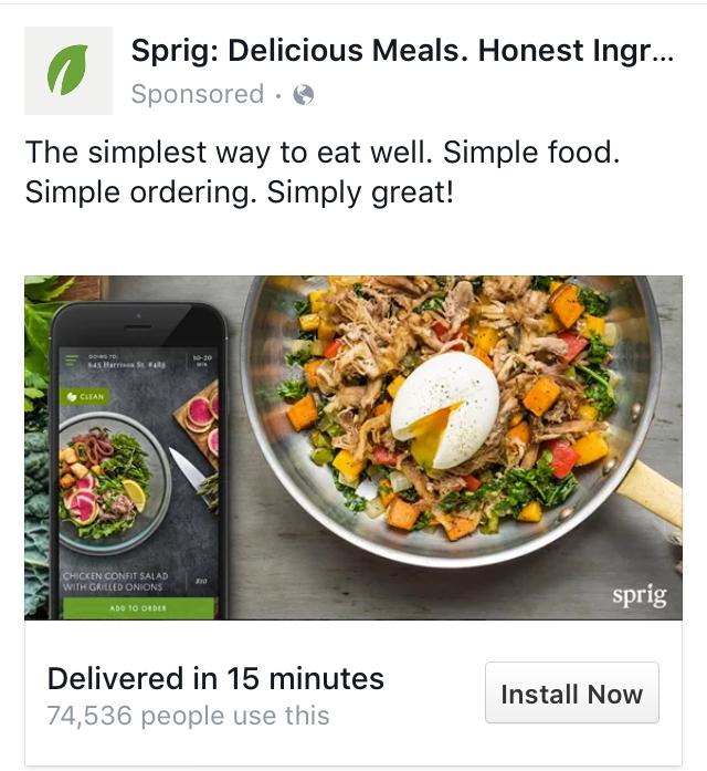 Sprig Facebook Ad