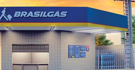 Ilustração de uma faixada de uma revenda Brasilgás com testeira nas cores azul, vermelho e amarelo. No funda da ilustração um céu alaranjado de entardecer.