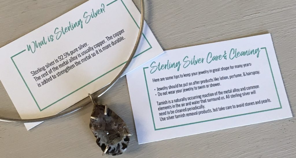 Sterling silver care and info cards
