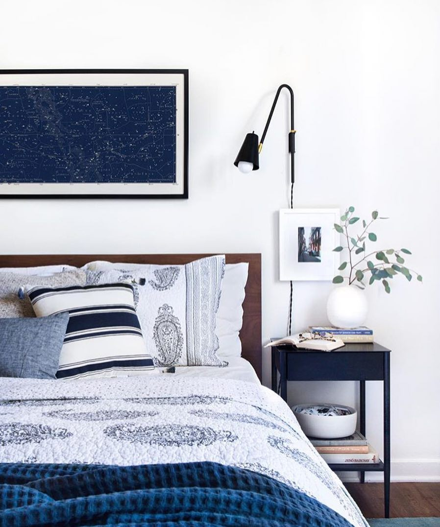 eucalyptus in blue bedroom