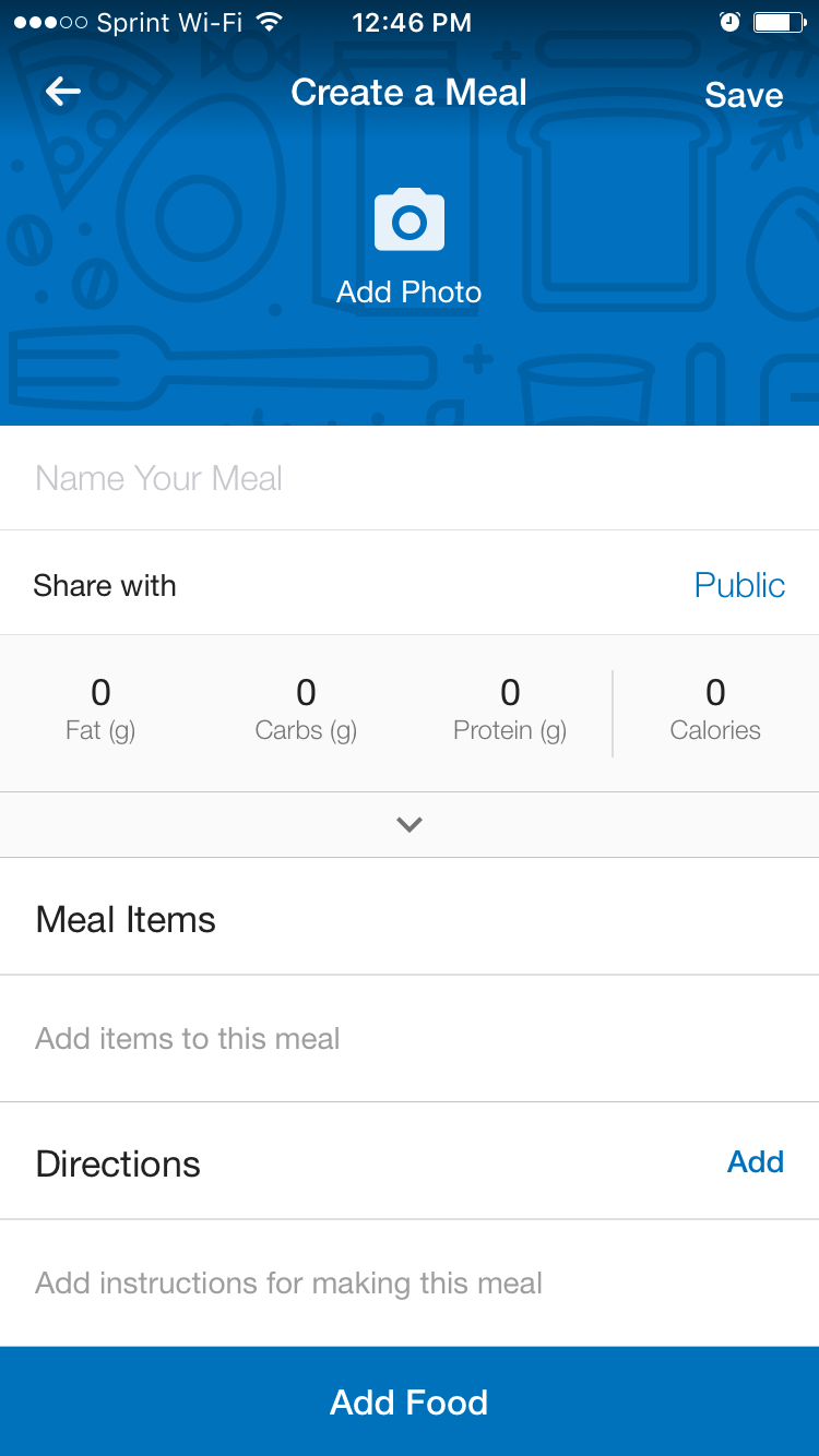 myfitnesspal app meal tool