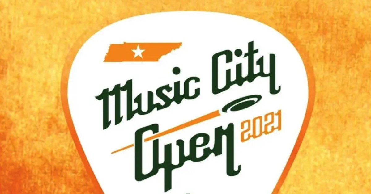 """Top of white guitar pick on an orange background. A small, orange outlineo f Tennessee and the words """"Music City Open 2021"""" are written in the guitar pick."""
