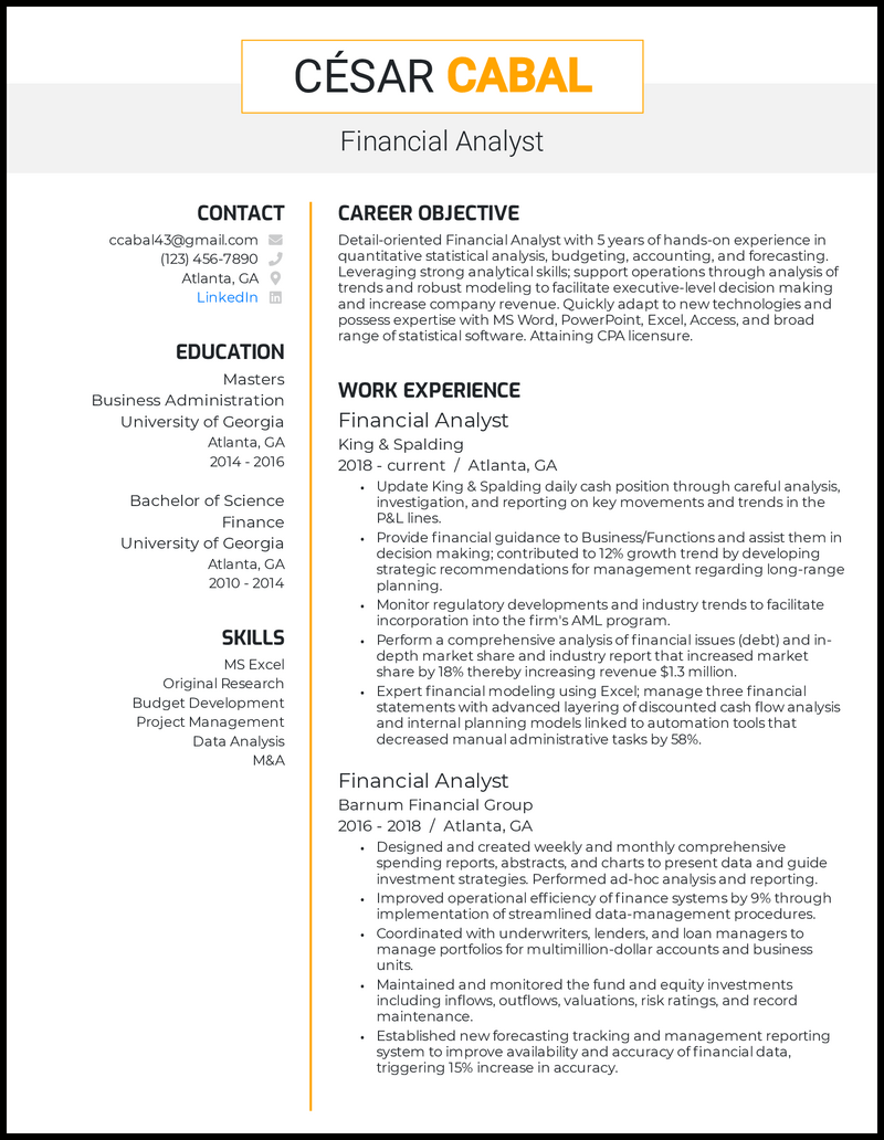Financial Analyst resume with 5 years of experience
