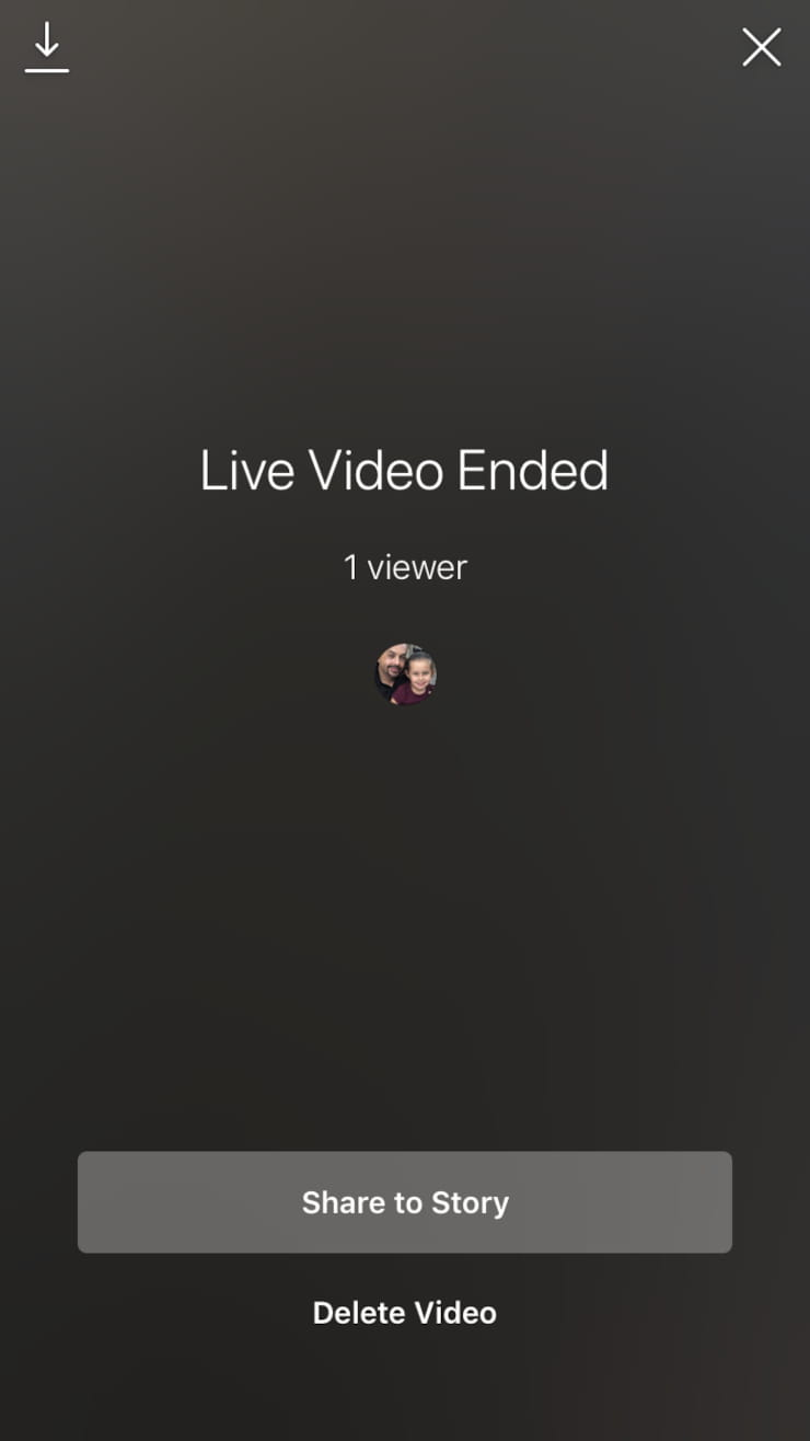 Instagram live video that has ended