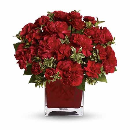 Red carnations bouquet and best selling Thanksgiving flowers