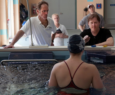 Swim coach Glenn Mills at a swim clinic using the Elite Endless Pool at Friends' Central School