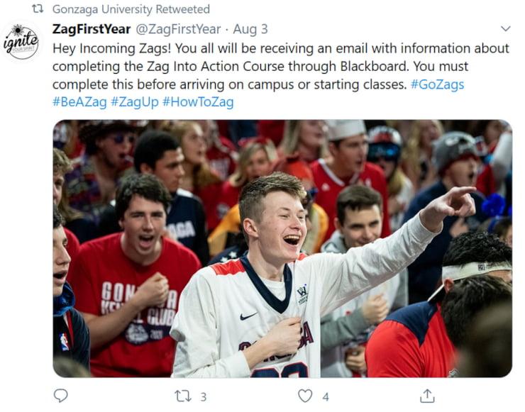 university Twitter communication