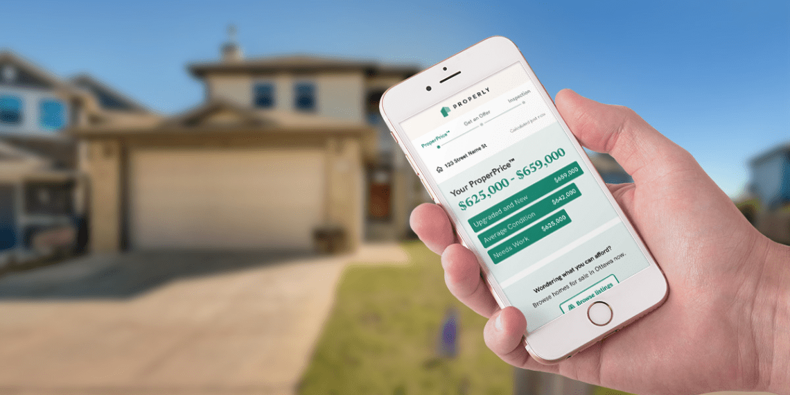 mobile phone showing home value in front of suburban home