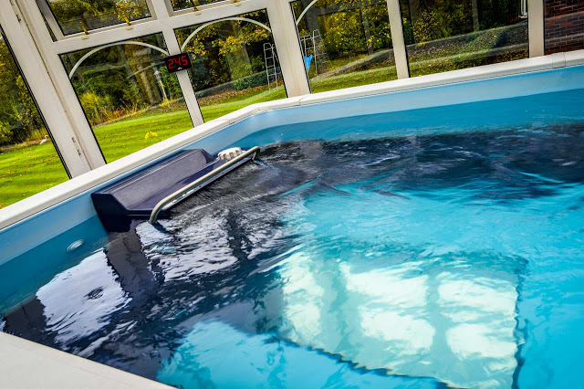 The swim current is on in this conservatory Endless Pool