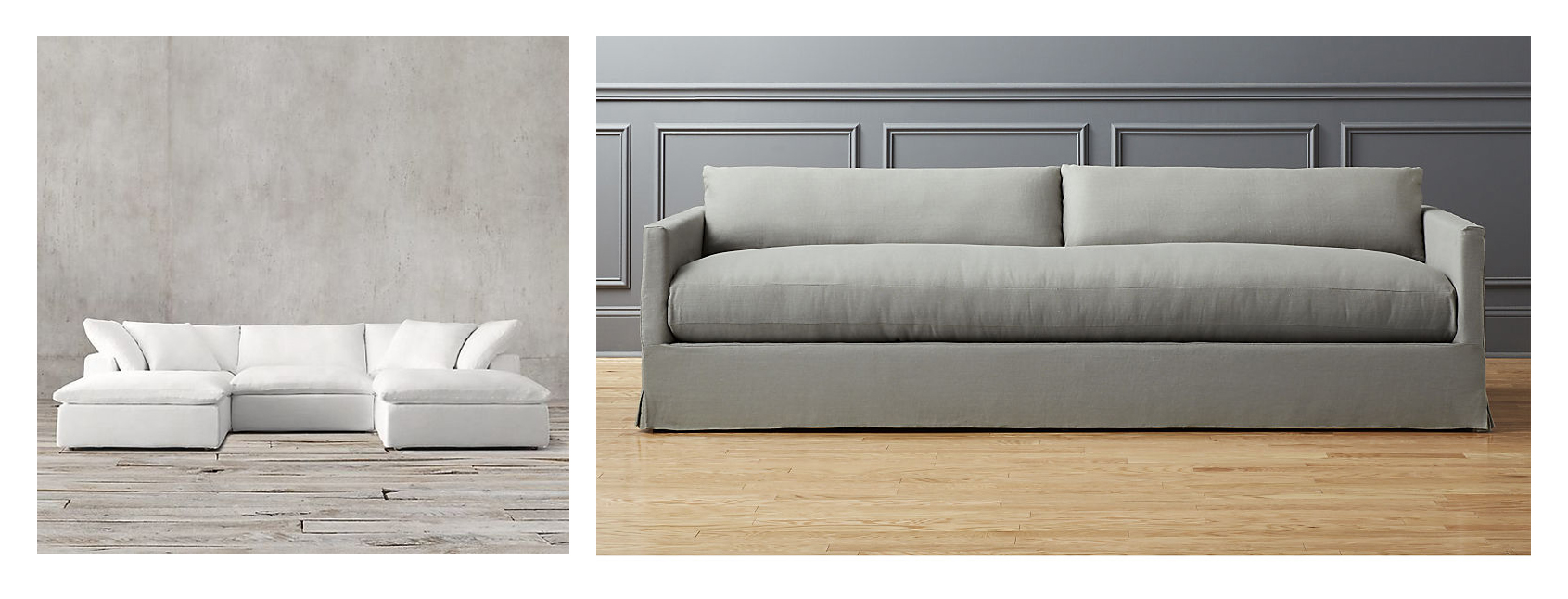 legless couches in grey and white