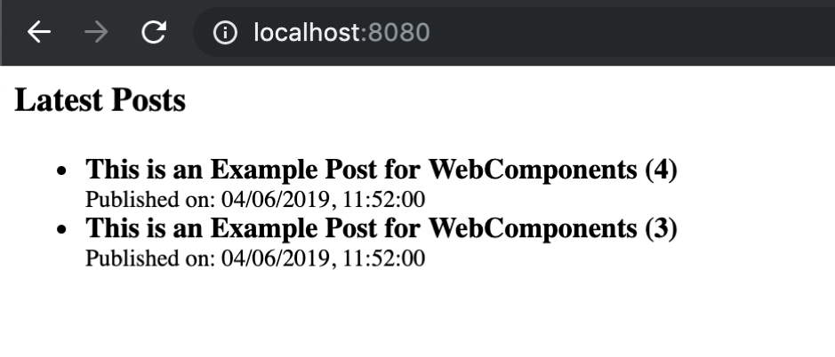 Web Components ButterCMSList result