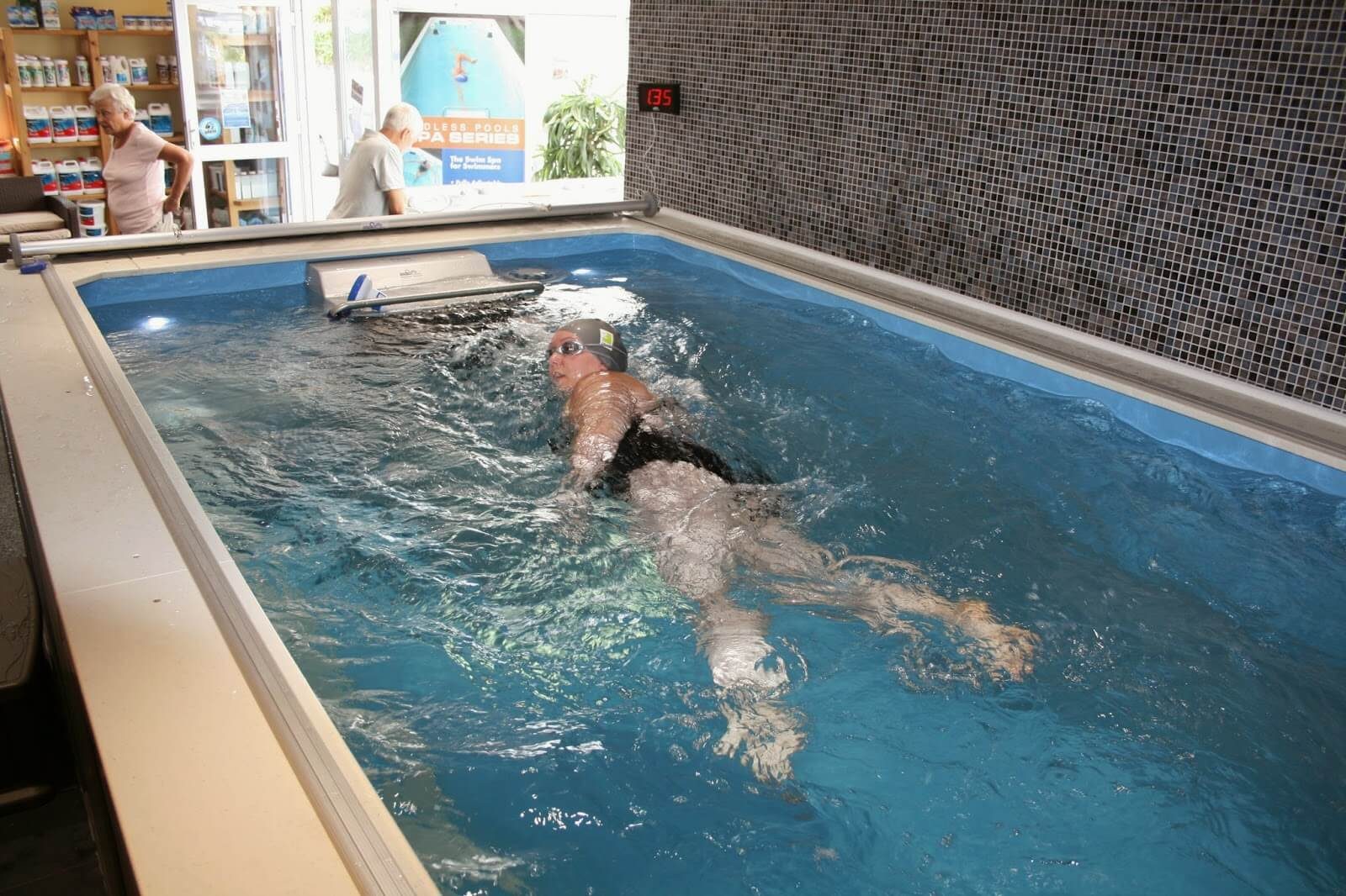 a freestyle swimmer in the Endless Pool at the Cornwall Pools Swimathon