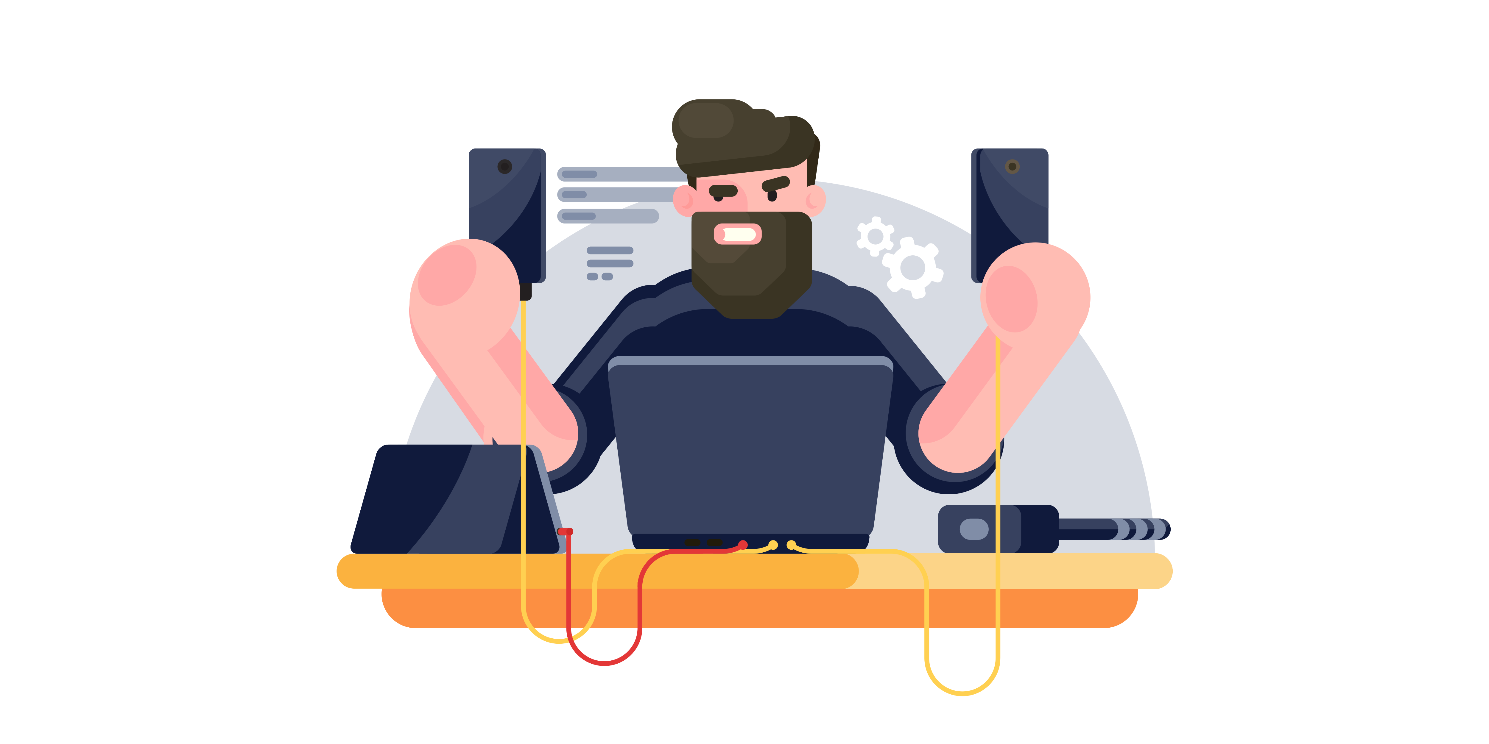 Illustration: A man using Next.js sits surrounded by a bunch of different devices.
