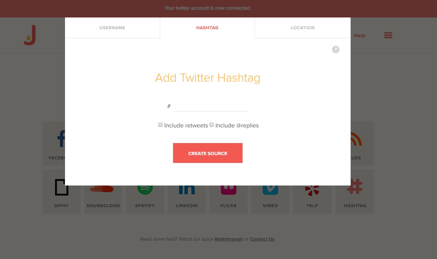 Add Twitter hashtag feed