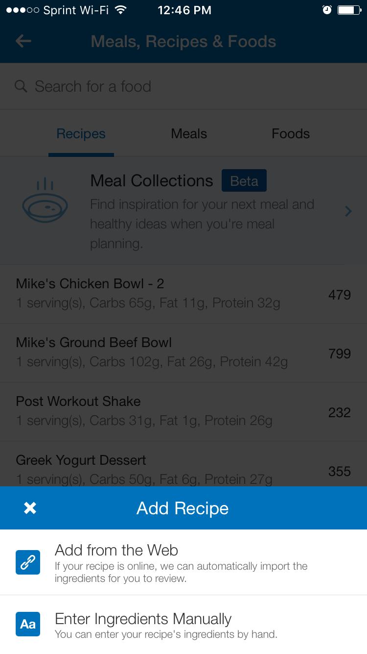 myfitnesspal app recipe scraper