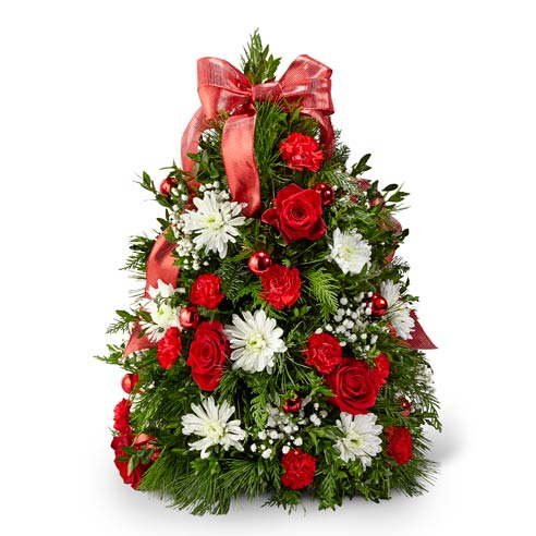 Red rose and white chrysanthemum mini live Christmas tree deliveries