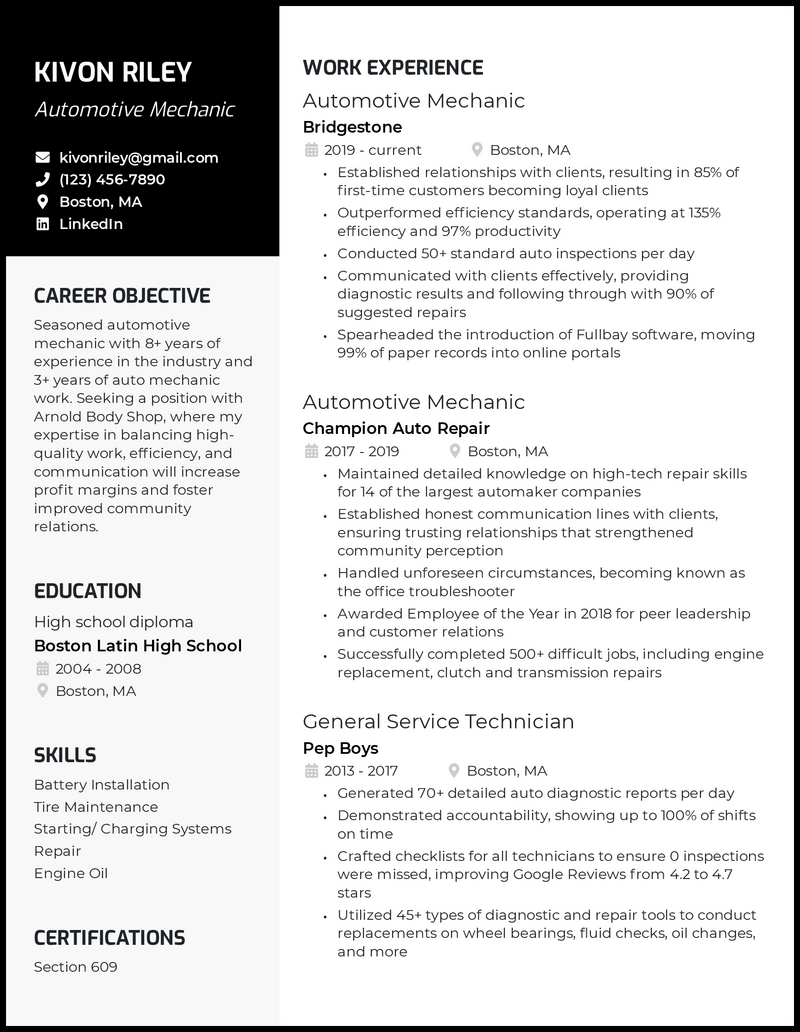 Auto mechanic resume with 7+ years of experience