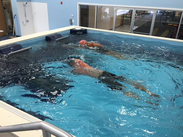 First-time triathlete Jay Stillman learns to swim in the Dual Propulsion Endless Pool at ProSwim Fitness