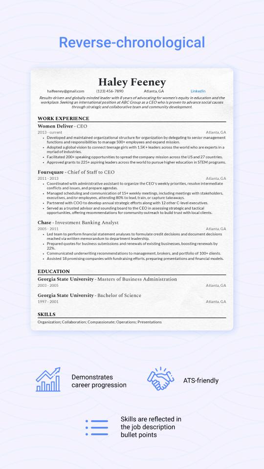 Reverse-chronological resume example
