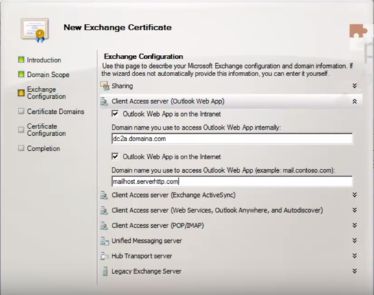 Exchange 2010 new exchange certificate exchange configuration