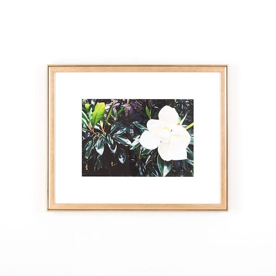 White flower in rose gold Rosemont frame