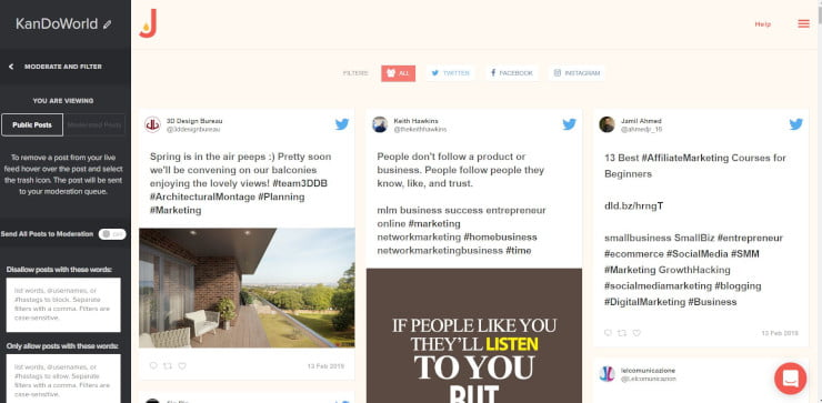 social wall for website free