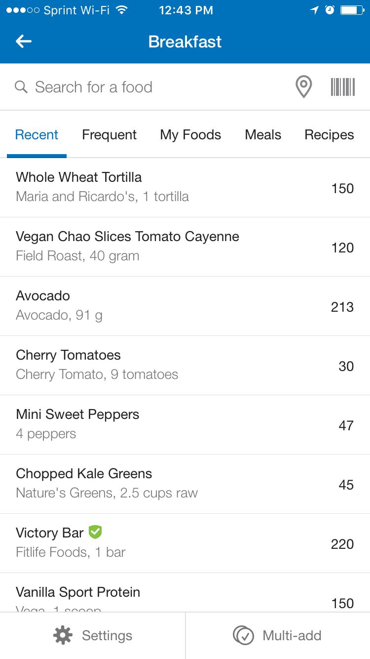myfitnesspal app recent foods