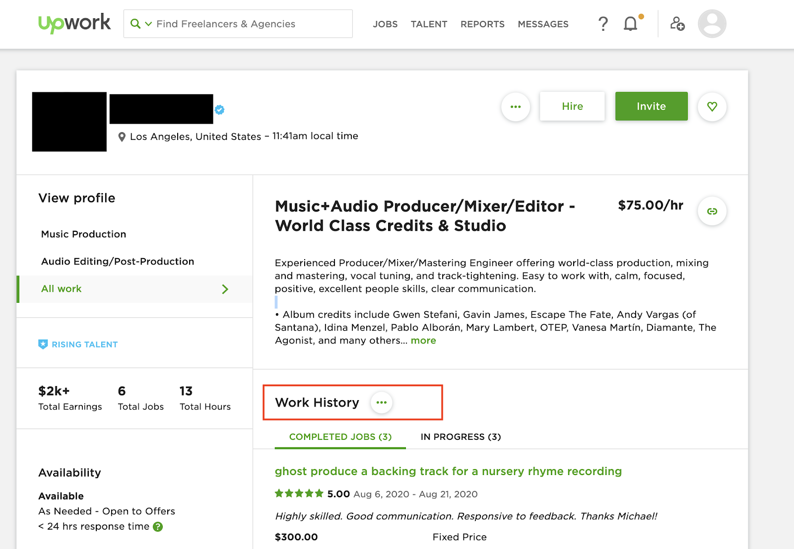 work history for an audiobook producer on UpWork