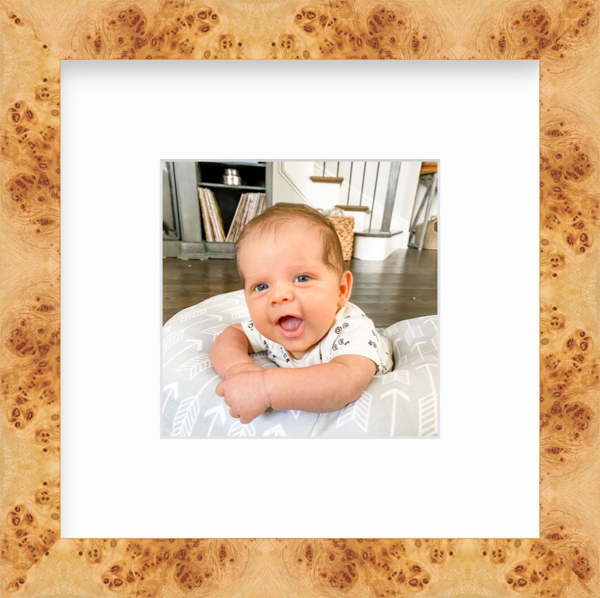 Photo of baby smiling in burlwood frame