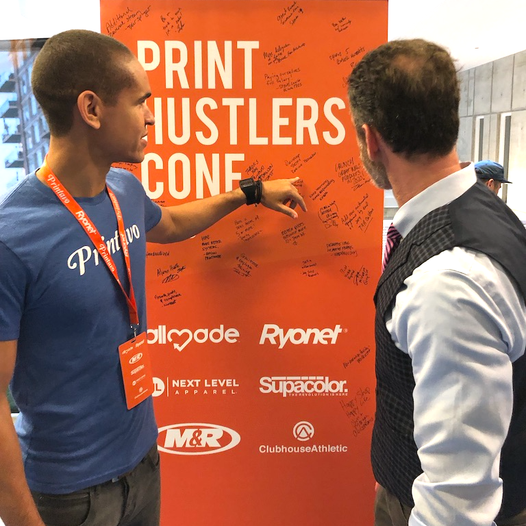Bruce from Printavo and Profit First author Mike Michalowicz at PrintHustlers Conf 2019