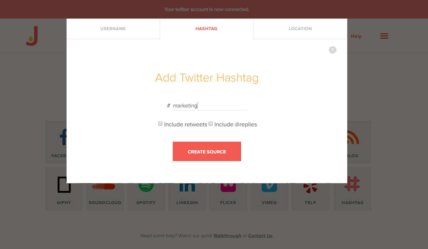 Add #marketing hashtag to Twitter feed