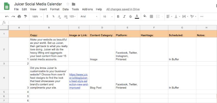 sample social media schedule