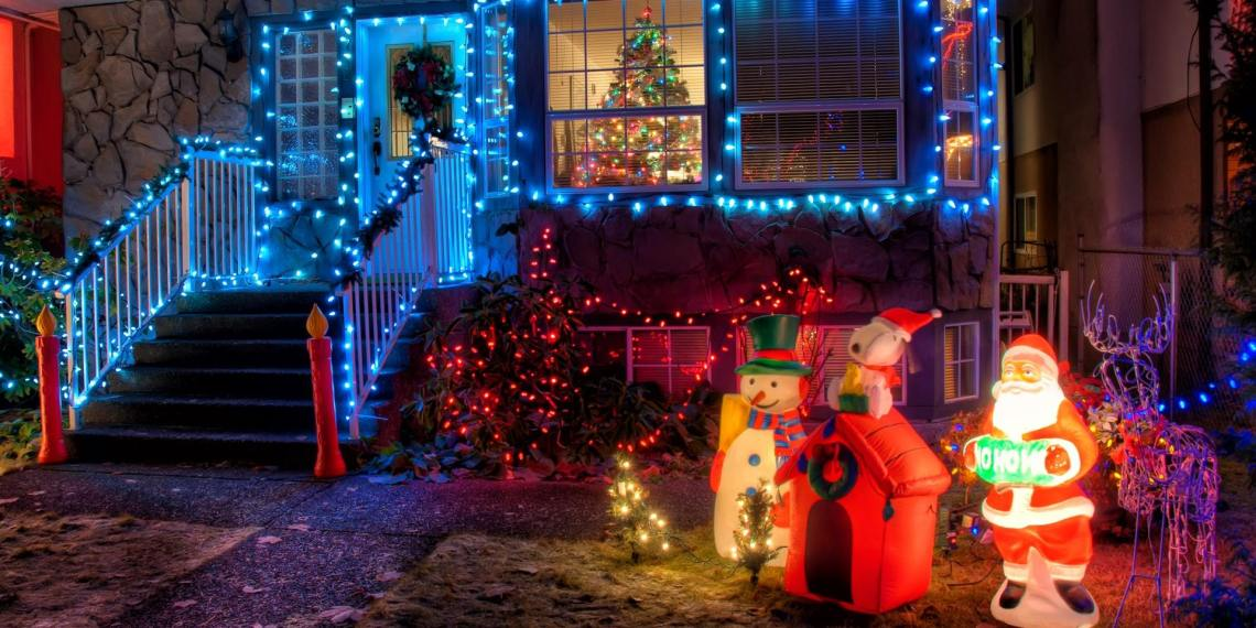 santa and light decorations on front of home