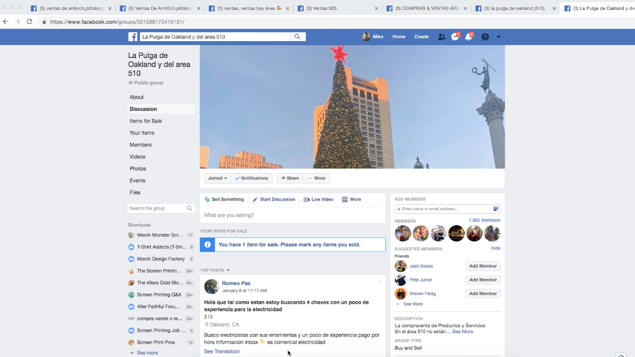 La Pulga de Oakland, a Spanish-language Facebook group for buying and selling