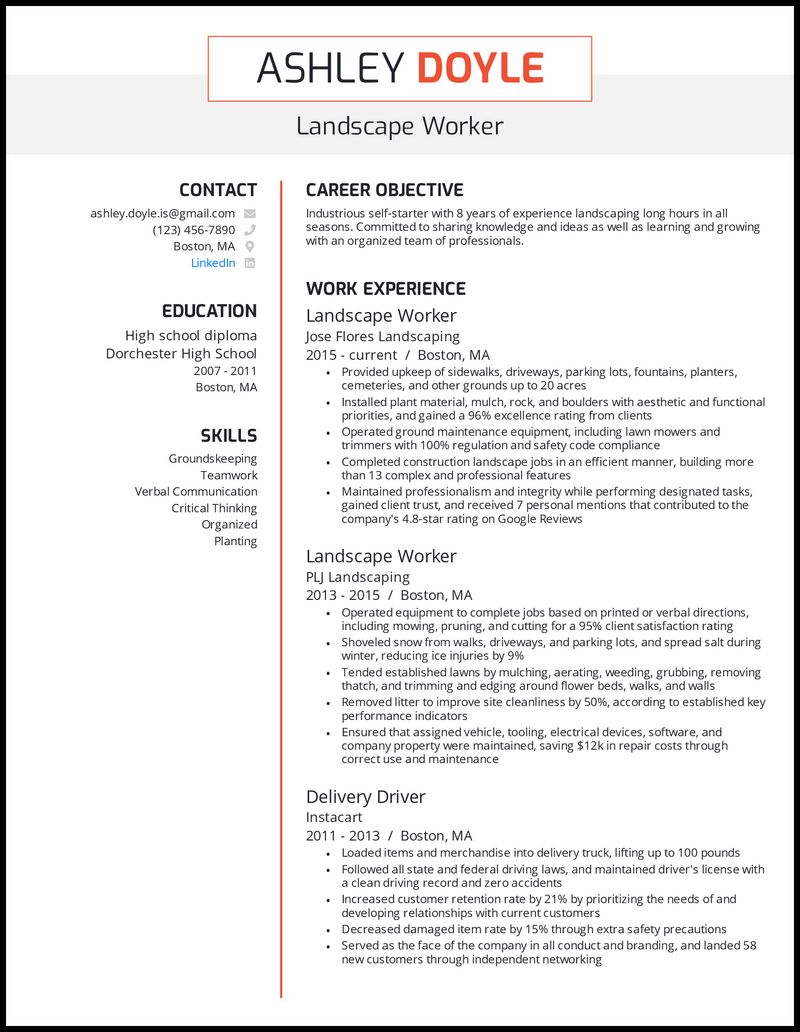 Landscape worker resume with 8 years of experience