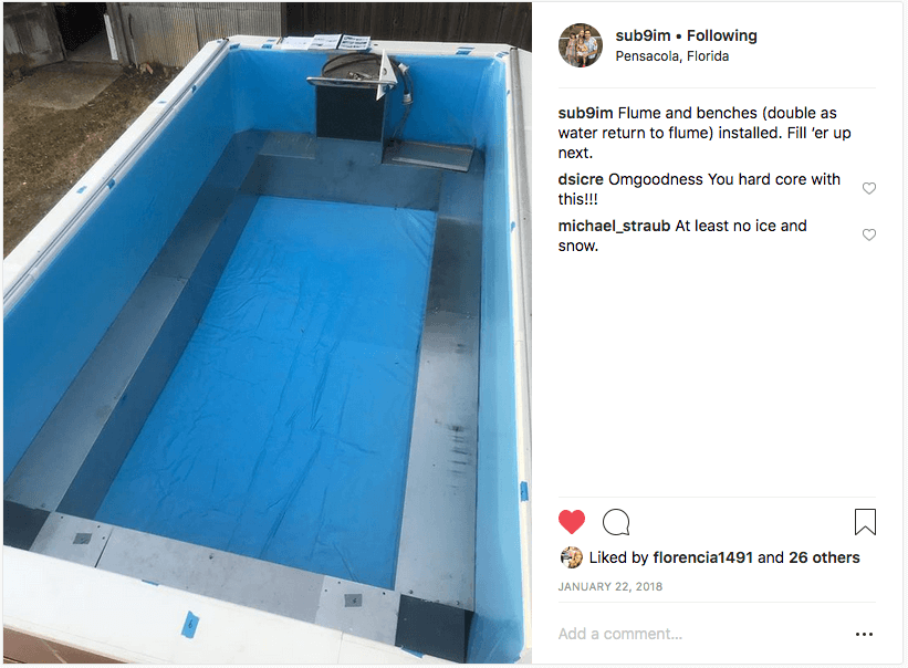 Cam's Instagram post of his newly assembled Endless Pools swimming machine