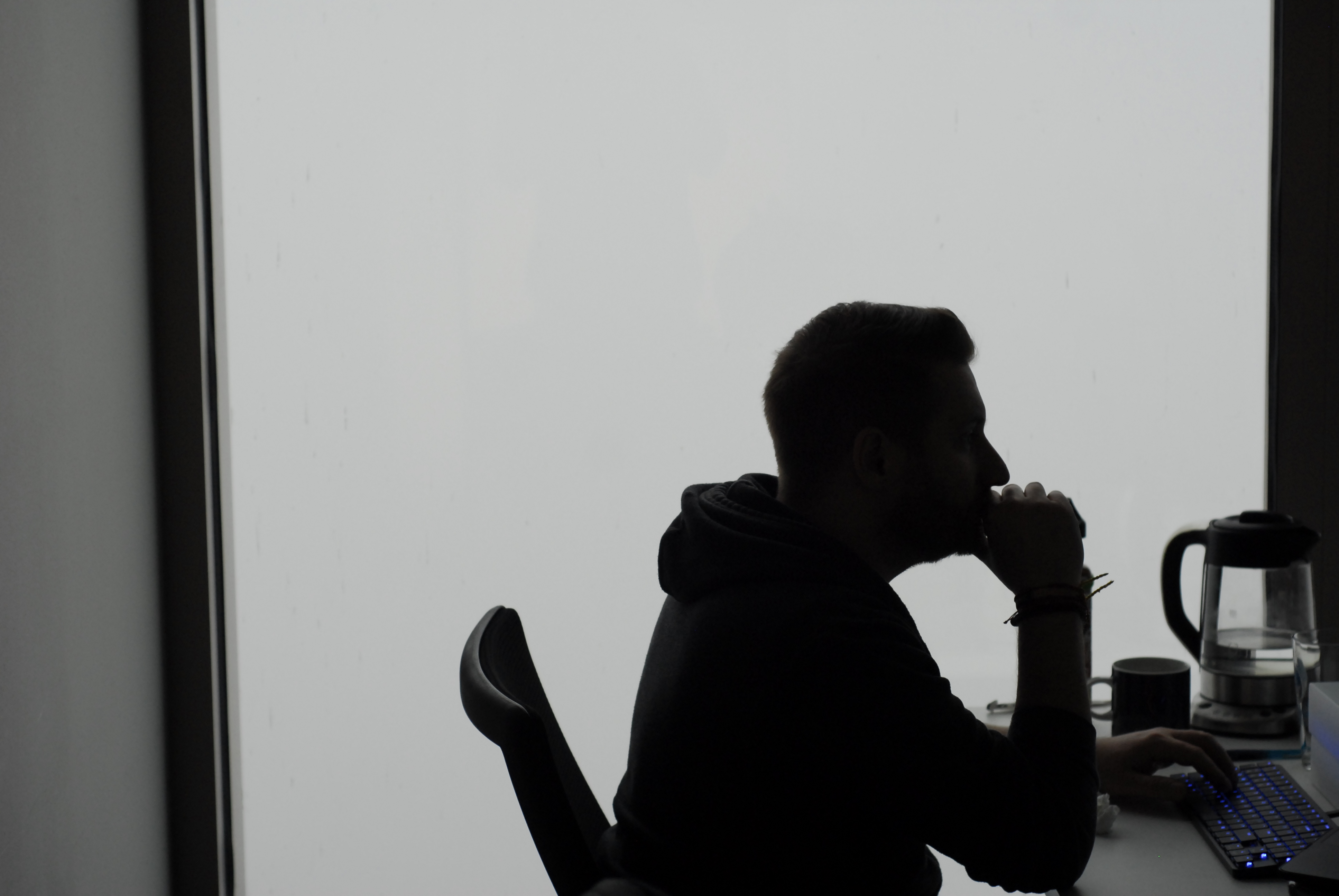 Piotr Biegaj, Printavo's head engineer, during a foggy morning in our Chicago office.