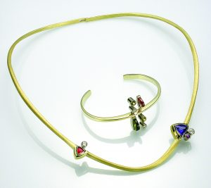 Cantilevered Neckring and Bracelet by Michael David Sturlin