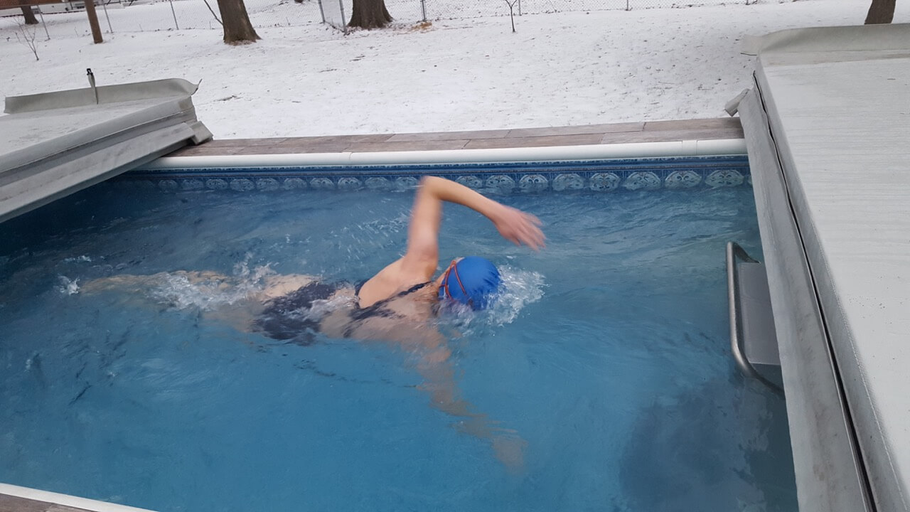 Julie enjoys winter swimming in her Original Endless Pool