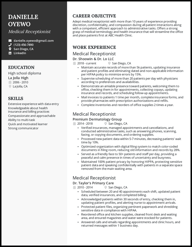 Medical receptionist resume with 10+ years of experience