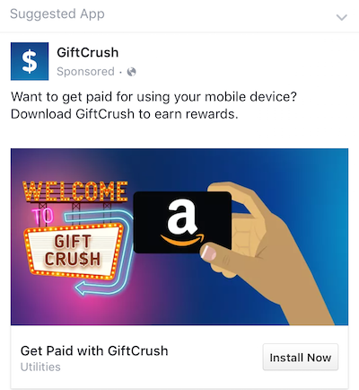 MightySignal detected this Facebook ad for GiftCrush