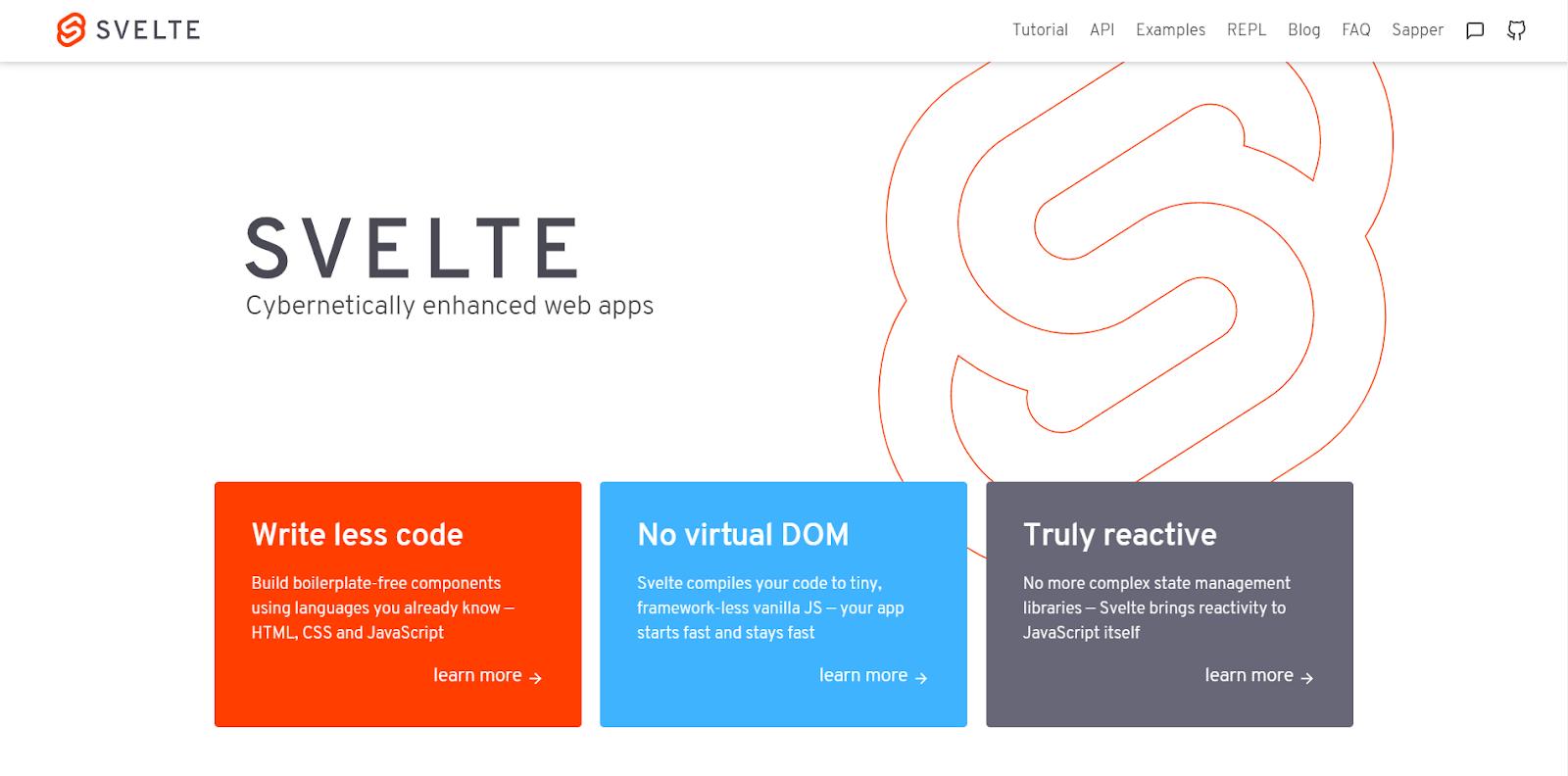 svelte homepage screenshot