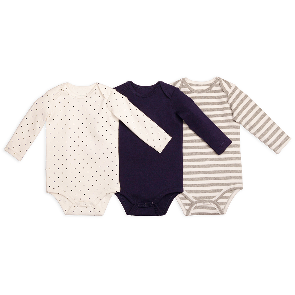 pack of soft cotton long sleeve bodysuits for baby from Primary