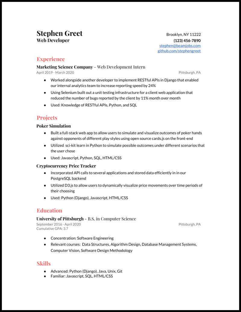 Web Developer Resume Examples Guide For 2020