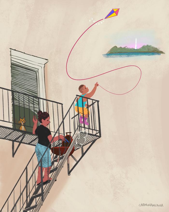 boy flying kite illustration
