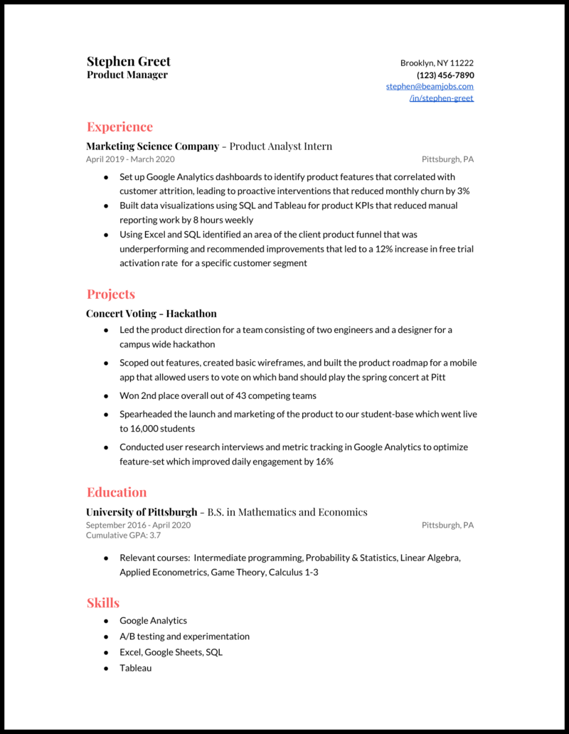 Product Manager Resume Examples And Tips For 2020