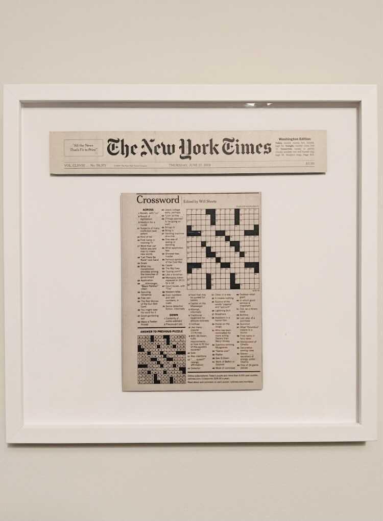 framed new york times crossword