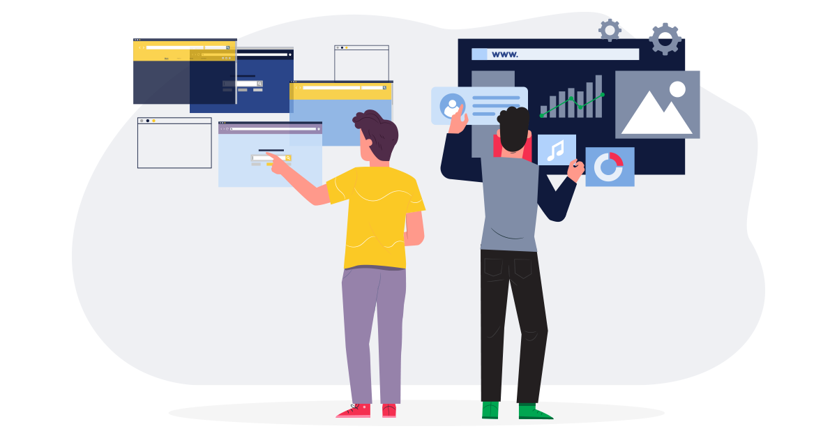 Illustration: A man in gatsby colors rapidly building small websites and another man in next.js colors building a large website with a bunch of different features.