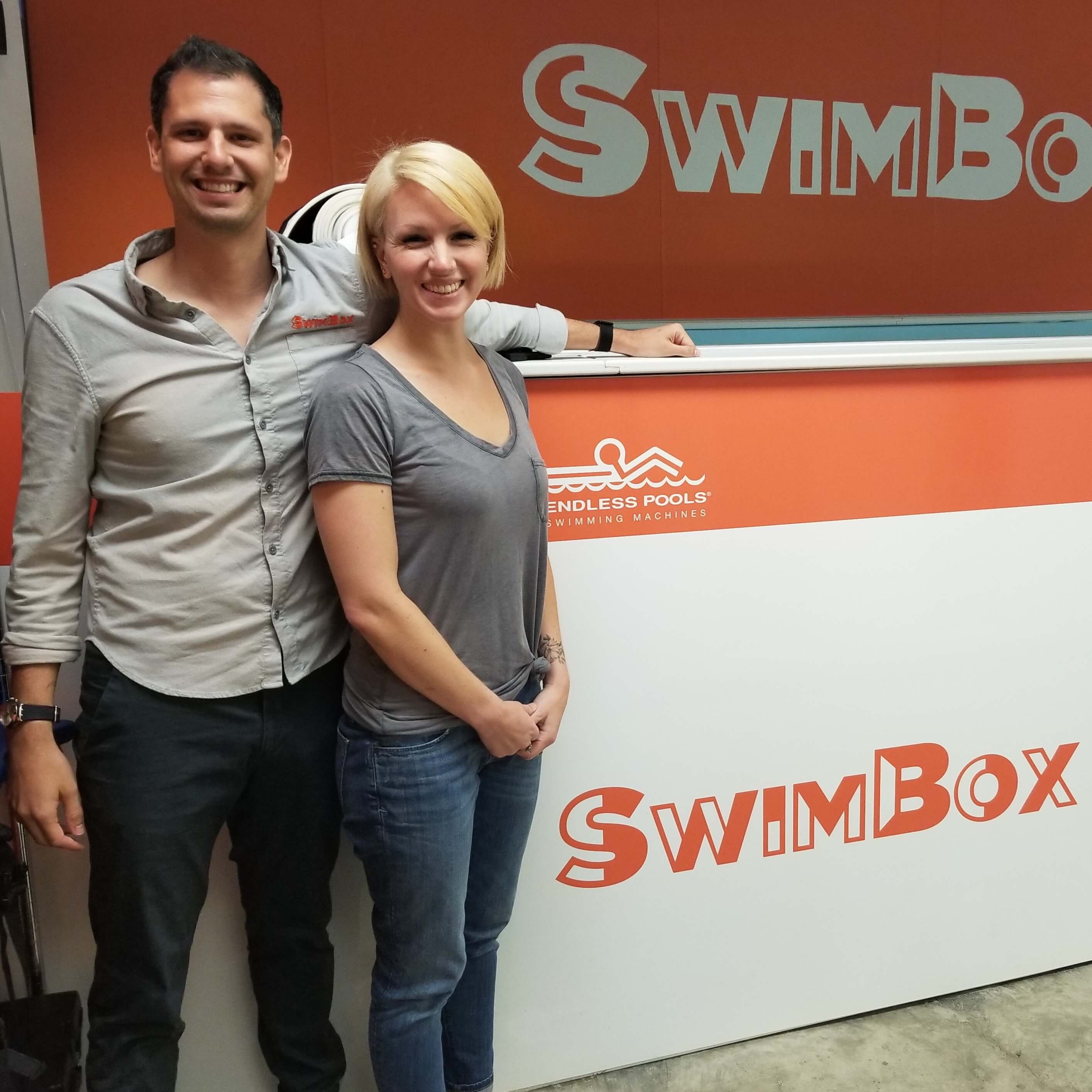 Dominic and Lissa Latella with the Commercial Endless Pool at SwimBox, their Fairfax Virginia swim studio